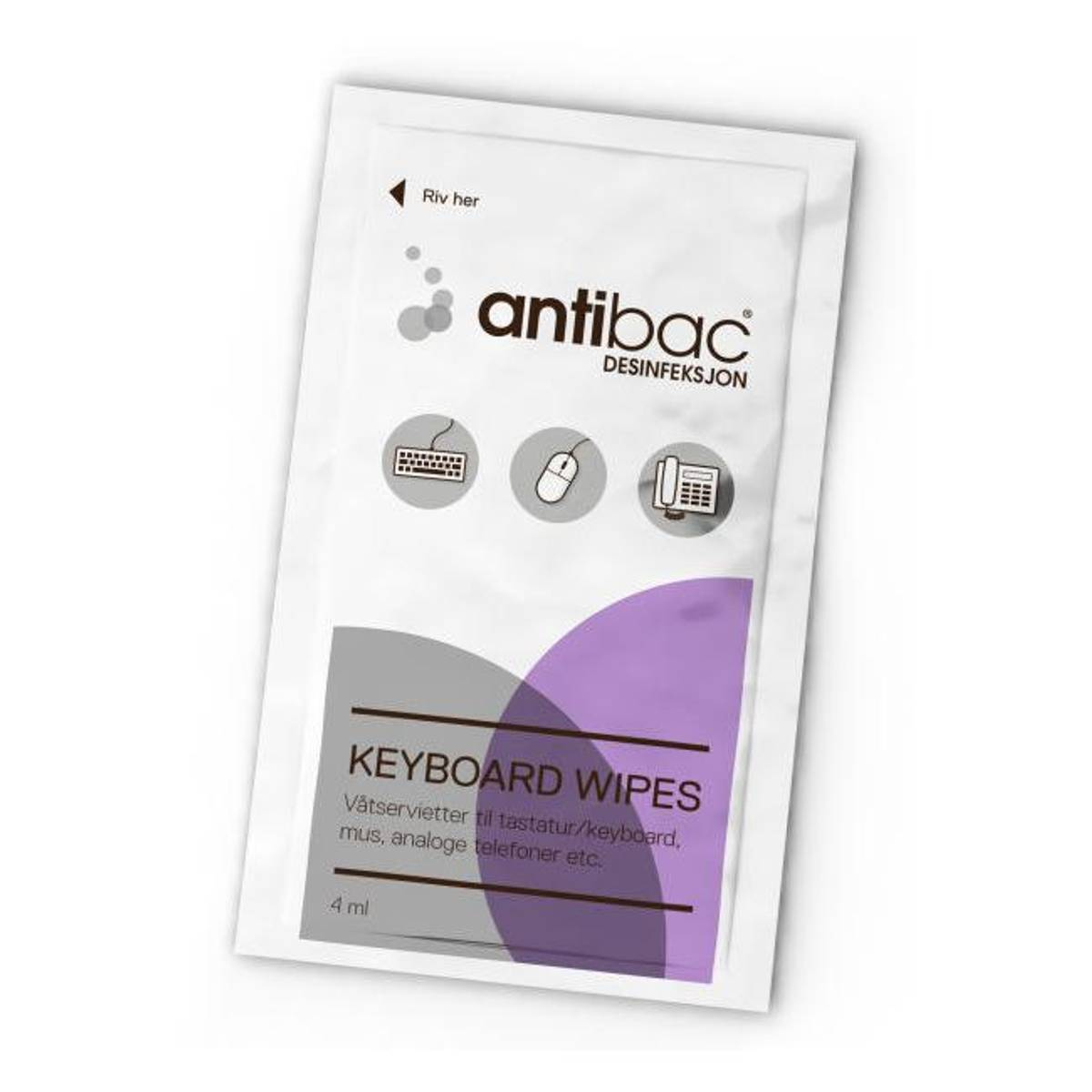 Antibac tastatur våtserviett 80 stk